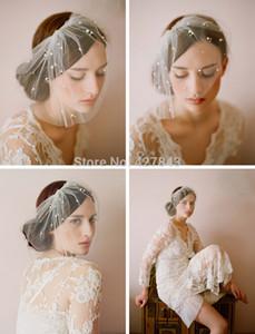 Ücretsiz Kargo İnci Tarak Kısa Allık Veil Gelin Saç Aksesuarları ile 2015 Yeni Kısa Düğün Allık Veil Gelin Kısa Veils