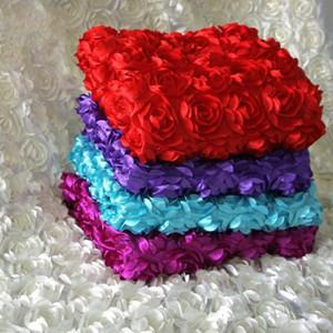 2015 centres de mariage de luxe faveurs 3D Rose pétale tapis allée coureur pour la décoration de noce fournitures 12 couleur