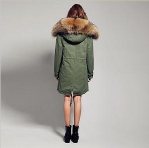 Открытой роза меховой отделки Jazzevar бренда мех кролик подкладка Камуфляж оболочка длинных ветровки снег зимних куртки женских пальто