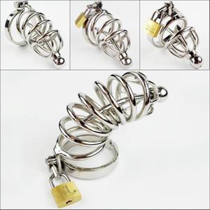 Dispositivo di vendita caldo Maschio Chastity Cage catetere uretrale in acciaio inox Chastity Belt Bondage Feticismo SM Sex Toys Art Cage