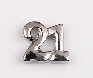 20PCS / lotto Silver Twenty One 21 Festeggia il numero di compleanno Charms Fit For Glass Living Locket galleggiante