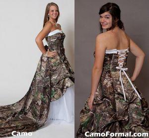 Gorgerous Camo Vestidos de novia Sin tirantes Campamento Vestido nupcial Falda larga Vestidos de boda Más tamaño Bosque natural Capilla de bodas Tren por encargo