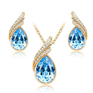 Fashion Earrings Necklace Set Shining Crystal Necklace and Earrings Wedding Jewelry Set For Women Best Gift A39+B66