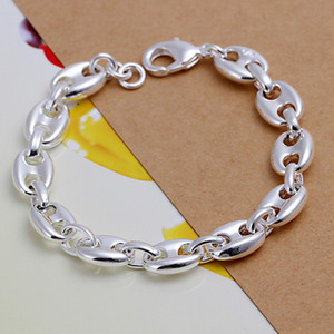 venta caliente mejor regalo de plata 925 pulsera llena 8 palabra DFMCH133 a estrenar de la manera 925 pulseras del acoplamiento de cadena de plata