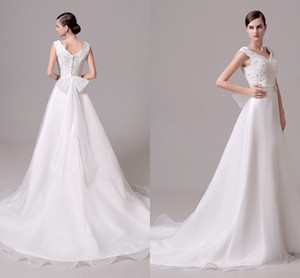 In Stock Cheap Wedding Dress With Peplum Applique Lace A Line Sweep Train Back Zipper Vestido de Novia Real Picture Bridal Gowns