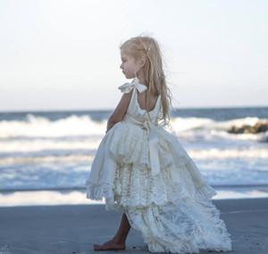 Satin Кружева Ivory Princess Pageant платья для девочек ленты ремни из бисера кристаллов цветок девочки платья High Low Boho Пляж Свадьба Люкс
