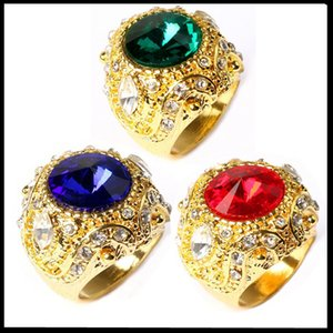 Marca Crystal Gem Luxury Fashion Vogue King Rings Alto Quanlity Sapphire Ruby Emerald Jewelry hombres Anillo