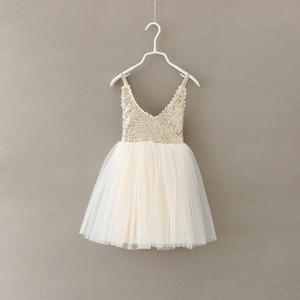 Vestido de princesa de las muchachas de lentejuelas 2015 último verano niños lentejuelas de oro de la liga del tutú de tul vestido de fiesta de los cabritos del vestido