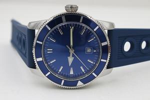 Venda quente Qualidade Fina HERITAGEM Mecânica Automática 46 Relógio Azul Dial Assista Prata Rubber Belt Siliver Caso relógio de Pulso dos homens