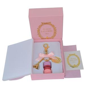 سبائك الذهب مطلي فرنسا لادوري معكرون معكرون برج effiel المفاتيح الأزياء كيرينغ مفتاح سلسلة حقيبة سحر الأزياء والاكسسوارات ث هدية مربع