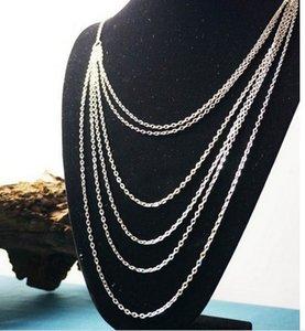 2015 Moda Nuevo Estilo Vintage Multi-capa Mujeres Plata Multi-Chain Tassel Necklace Cadena larga Envío rápido iok9
