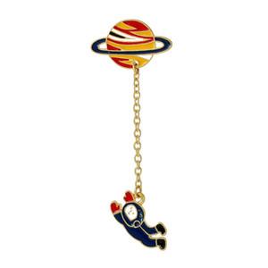 Nouveau Mode Vintage Designer Enamel Spaceman Planète Charme Costume Broche Pins Accessoires Bijoux pour Femmes 6.3x2.5cm 1 Pièce