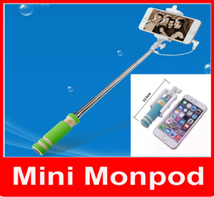 Süper Mini Kablolu Özçekim Sopa Taşınabilir Uzatılabilir Katlanır El Monopod Kendini Zamanlayıcı Ile Oluk Ses Kablosu iPhone Samsung cep telefonu için