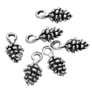 500 pcs cônes de pin Noël 3D antique argent charmes pendentifs perles bon pour artisanat bricolage, décoration, conclusions jewerly