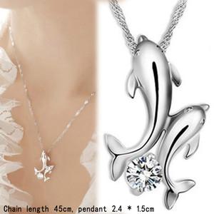 Collane con pendente Collana carino Dolphin 925 Argento sterling doppio Dolphin Love Strass Collana corta ciondolo a catena da donna Gioielli di moda
