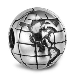 Clip Globe 001 100% 925 Sterling Silver Perles Fit Pandora Bracelet Bracelet Authentique DIY Mode Bijoux
