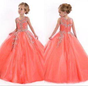 Nuevo 2018 Little Girls desfile de vestidos de princesa Tulle Sheer joya de cristal rebordear blanco Coral Kids Flower Girls vestido de vestidos de cumpleaños
