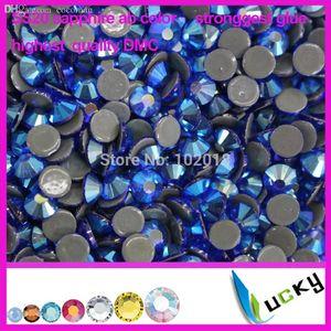 Gros-A + qualité strass correctifs copie swarov 2038 DMC! 1440pcs ss20 / 5mm saphir ab couleur strass cristal pour le fer sur les transferts