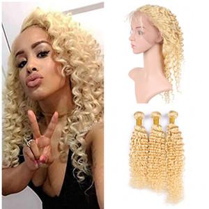 Vague Profonde Platinum Blonde Vierge Cheveux 3 Bundles Avec 360 Dentelle Frontale Fermeture 4 Pcs Lot Non Transformée Humaine Brésilienne # 613 Blonde Cheveux Armure