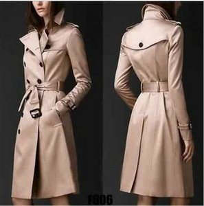 Wholesale- 2017 Autumn New  Women Trench Coat Long Windbreaker Europe America Fashion Trend Double-Breasted Slim Long Trench Q1534