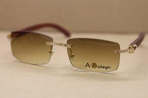 Оптовая Новый Большой алмаз 8200757 ВС очки кадр Rimless Декор деревянной рамой Мужчины Свободная перевозка груза Солнцезащитные очки Размер: 56-18-135mm