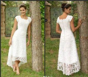 Weiße Tee Länge High Low Lace 2019 Brautkleider U Hals Cap Sleeves Modest Brautkleider Elegante Falten Custom Made Beach Brautkleider