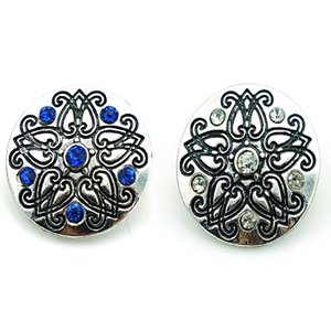 New Fashion Noosa 18mm Snap Buttons Charms 2 Color Rhinestone Ginger Clasps Interchangeable DIY Jewelry Accessories NKC0049