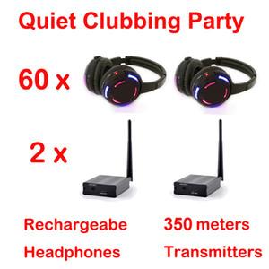 Professionelle Silent Disco führte Kopfhörer RF Headset für Party DJ MP3 Konferenz - (60 Kopfhörer + 2 Sender)