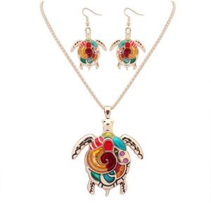 Мода панк-стиль 18KGP / 925 серебро реалистичные капать красочные симпатичные черепаха форма комплект ювелирных изделий сплава ожерелья серьги аксессуары для женщин