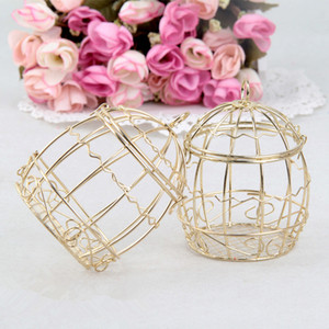웨딩 호의 상자 유럽 창조적 인 골드 matel 상자 낭만적 인 단화 철새 birdcage 웨딩 캔디 상자 주석 상자 도매 결혼식 호의