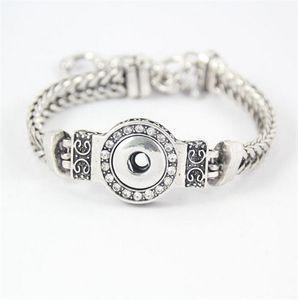 DIY Noosa Chunks Crystal Bracelets Plateado Intercambiable 12mm Botones a presión Joyas de acero inoxidable Pulsera de moda para mujer DCBJ237