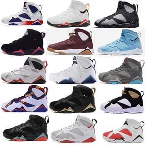 NUEVO 7 hombres mujeres zapatos de baloncesto de aire Pantone Tinker 7s Alternativo Olímpico Liebres Burdeos Cigarro Cardenal raptro Carbón j7 zapatillas de deporte retro