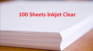 DHL Livraison Rapide 100 Feuilles A4 Imprimante À Jet D'encre Imprimante Glissière D'eau Decal Feuilles Transparent Transparent