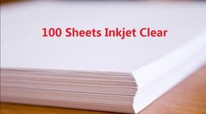 DHL consegna veloce 100 fogli A4 Inkjet Printer Water Slide Decal fogli di carta trasparente Trasparente