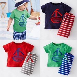 6 Design Boy Piratenschiff Fisch Streifen 2 Stück Anzug 2016 neue Kinder Cartoon Kurzarm T-Shirt + Shorts 2 Stück Anzug B001