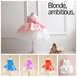 розовый девушки кружева принцесса свадьба платье дети девушка пачка юбка детские сращивания платья партии для девочек с большим бантом J110703#