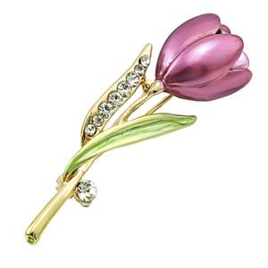 Mode Strass Tulip Broschen Pins Hohe Qualität Luxus Emaille Blume Broschen Für Frauen Hochzeit Tücher Dekoration Schmuck