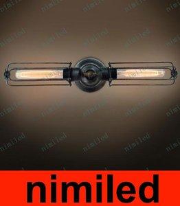 nimi578 Retro Vintage Double Heads Lampada da parete quadrata Lampade a specchi Illuminazione Industria Corridoio americano Corridoio Luce