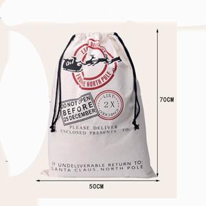 DHL Free shipping drawstring Christmas Canvas Santa Sack Gift bag Monogramable Christmas Gifts Sack Bags