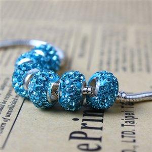Sky Blue Crystal Clay Charm Bead 925 Plateado Moda Mujeres Joyería Impresionante Estilo Europeo Para Pandora Pulsera Collar PANMF-01