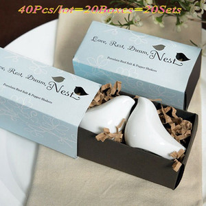 40Pcs lot=20Sets=20Boxes Wedding gifts and favors of Love Birds Salt and Pepper Shakers For Bridal shower Favors and Party Gifts