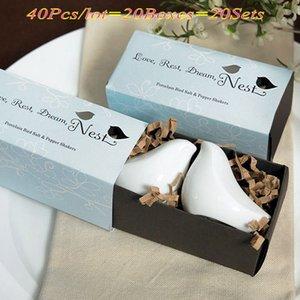 40pcs / lot = 20sets = 20Boxes Düğün hediyeleri ve Aşk Kuşlar Tuzluk için Bridal ait iyilik duş iyilik ve Parti Hediyeleri
