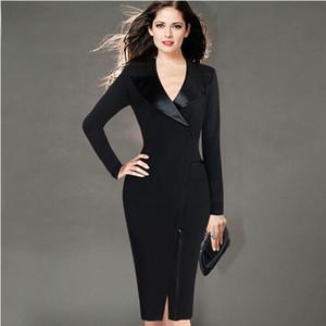 LCW neue Art und Weise der Frauen eleganten Revers Satin mit V-Ausschnitt Patchwork Adjustable Zipper tragen zu Office Business Mantel Enges Kleid Arbeiten
