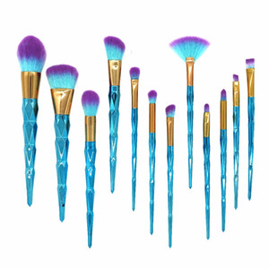 Foeonco 12 unids Set de pinceles de maquillaje Rainbow Diamond Cosmetic Base Brush Base de sombra de ojos Blush Powder Make Up Brush Kit
