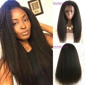 Kinky straight 300 Full density brazilian glueless lace front wig with baby hair brazilian human hair wig bleached kont