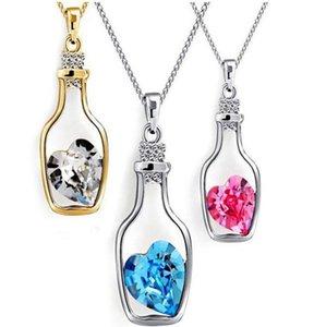 Il regalo di Natale Bottiglie amore di cristallo delle collane del pendente poco costoso del diamante della lega Normativa collana maglione della collana Locket Gioielli