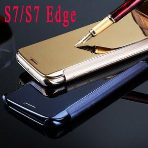 Custodia in pelle Flip di lusso S7-7 Edge Edge Clear View Mirror per Samsung Galaxy S7 / S7 Edge Phone Cover Cover Skin