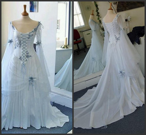 New Vintage Wedding Dresses White and Pale Blue Colorful Medieval Bridal Gowns Scoop Neckline Corset Long Bell Sleeves Appliques Flowers 419
