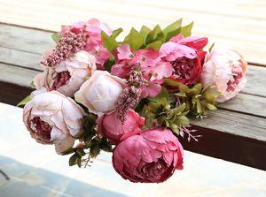 Artificial Peony Bunch Silk Peony Flores Simulação Oil Europeia Pintura Peony flor da flor do Hydrangea 15 cores para Centerpieces casamento