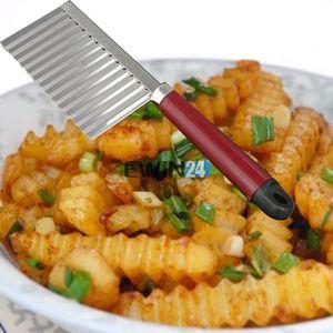 Patata Chip Cutter Crinkle Acero inoxidable Masa Vegetal Crinkle ondulado Cortador Slicer Para Cocina Inicio Nuevo 500Pcs
